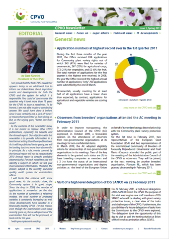 CPVO Newsletter 01 cover page