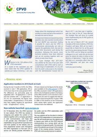 CPVO Newsletter #12 cover page